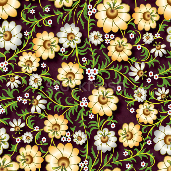 abstract seamless floral ornament with flowers on brown backgrou Stock photo © lem