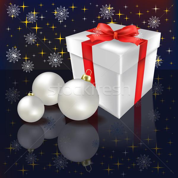 Karácsony ajándék fekete csillagok háttér szín Stock fotó © lem