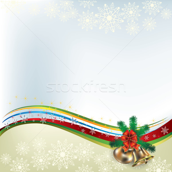 Christmas greeting with handbells and bow Stock photo © lem