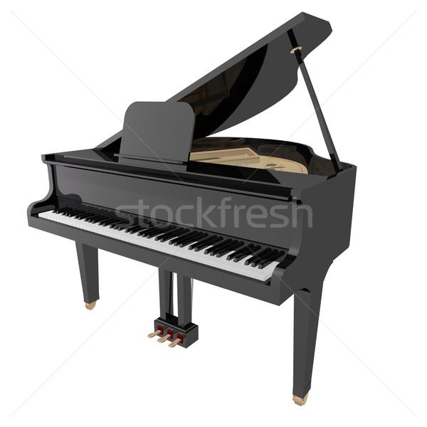 Zongora izolált fehér zene háttér mikrofon Stock fotó © lem