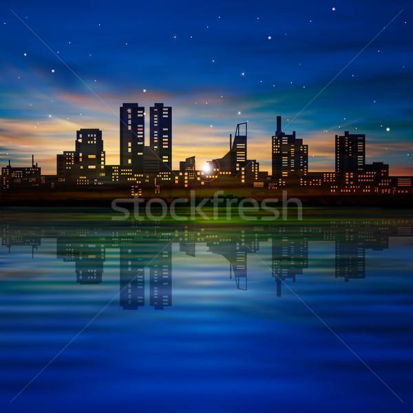 Foto stock: Abstrato · noite · silhueta · cidade · azul · dourado