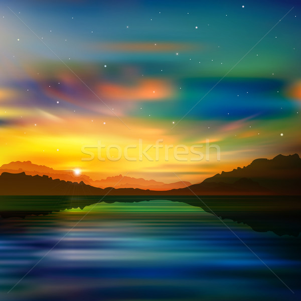 abstract nature green background with gold sunrise Stock photo © lem