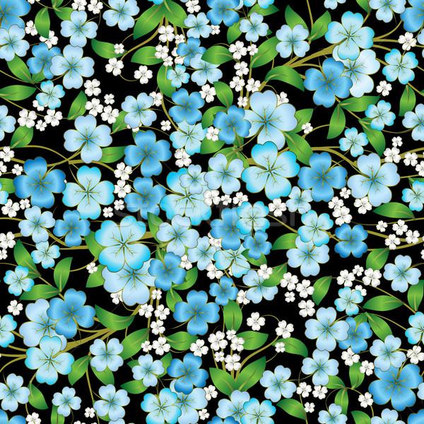 Resumen floral ornamento negro sin costura primavera Foto stock © lem