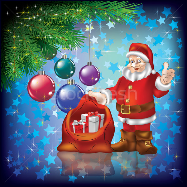 Stock photo: Christmas greeting with Santa and gifts on blue