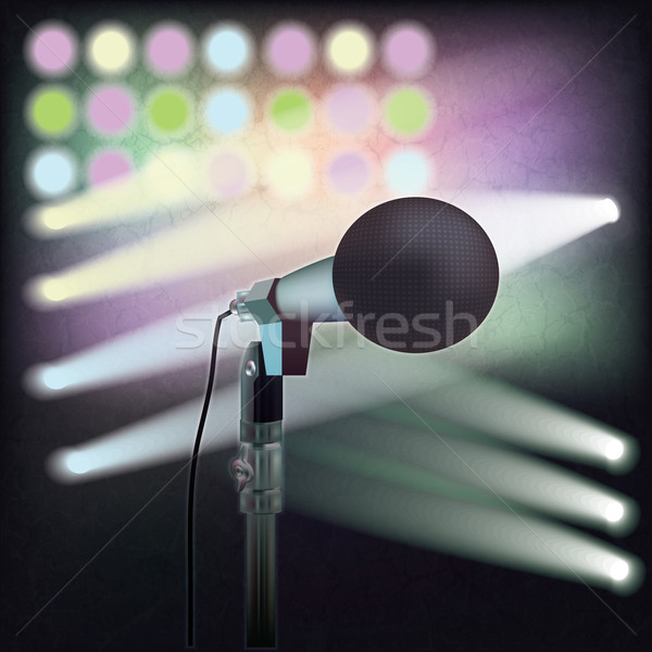 abstract background with retro microphone on stage Stock photo © lem