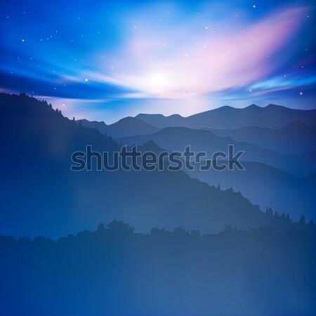 Soyut dağlar gündoğumu mavi gün batımı gökyüzü Stok fotoğraf © lem