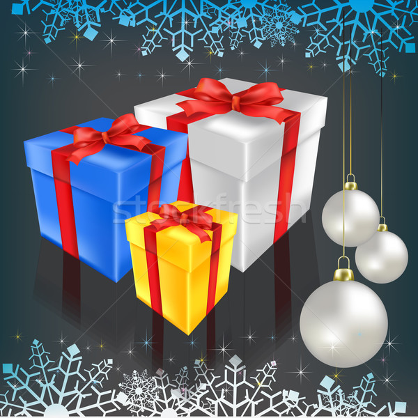 Noel hediyeler siyah arka plan star renk Stok fotoğraf © lem