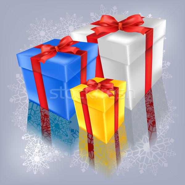 Karácsony ajándékok jég háttér csillag szín Stock fotó © lem