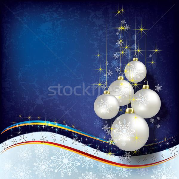 Resumen Navidad decoraciones perla azul árbol Foto stock © lem