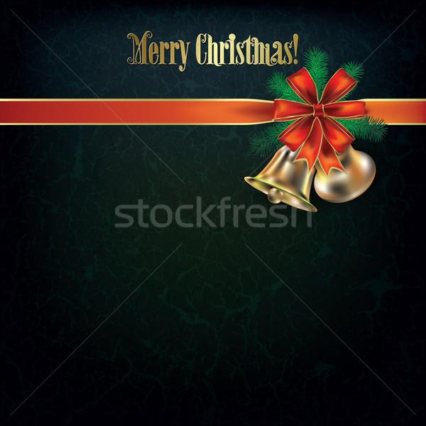 Grunge karácsony üdvözlet vörös szalag absztrakt fa Stock fotó © lem