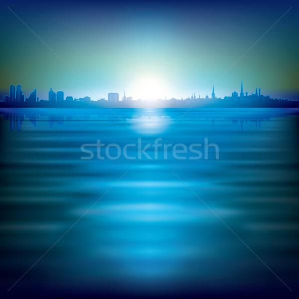 Absztrakt sziluett város napfelkelte épület háttér Stock fotó © lem