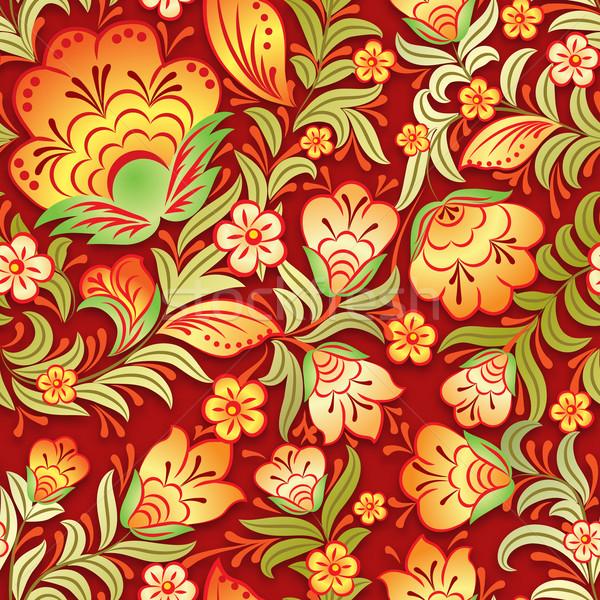 Absztrakt klasszikus végtelenített virágmintás dísz citromsárga Stock fotó © lem