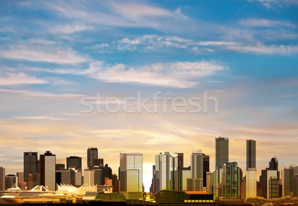 Abstract panorama Vancouver mattina nubi costruzione Foto d'archivio © lem