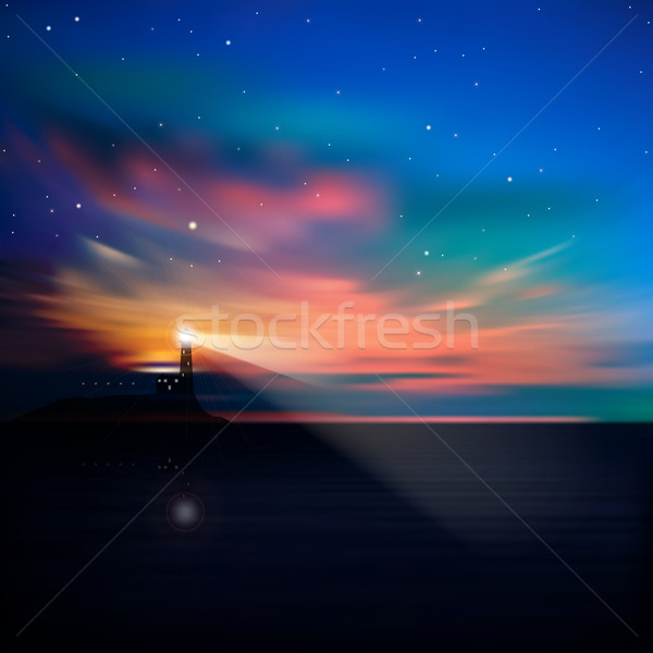 abstract background with lighthouse and mountains Stock photo © lem