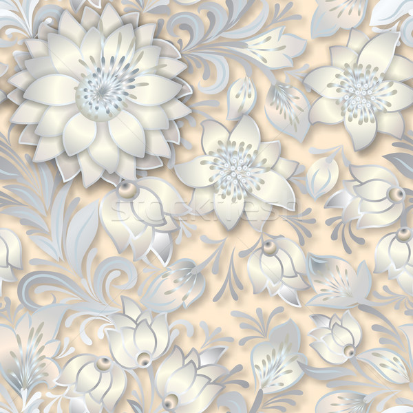 Abstract vintage naadloos ornament witte Stockfoto © lem