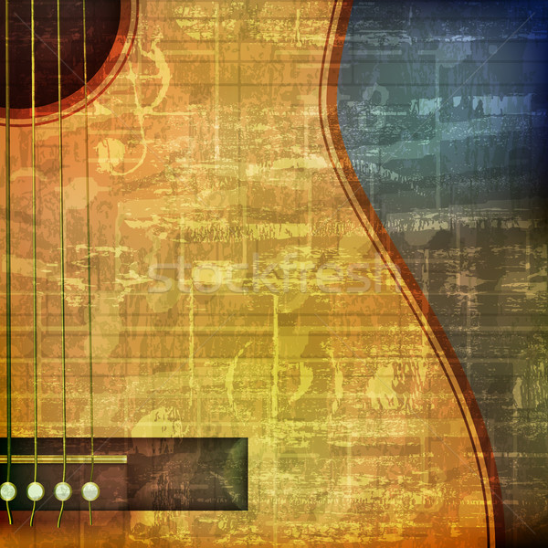 abstract grunge background with acoustic guitar Stock photo © lem