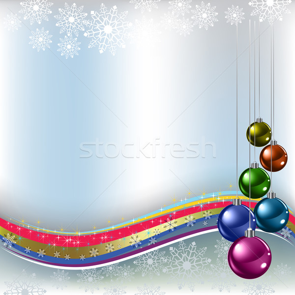 christmas greeting colored balls on silver background Stock photo © lem