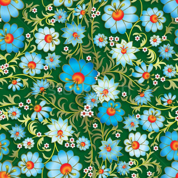 Absztrakt végtelenített virágmintás dísz tavaszi virágok kék Stock fotó © lem