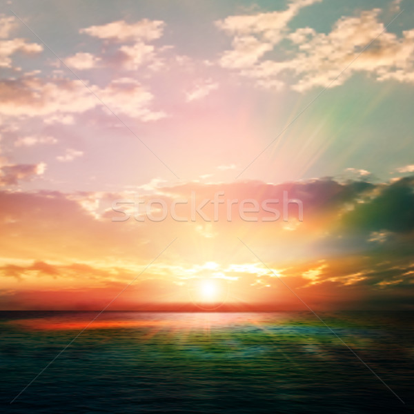 abstract nature background with sunrise and ocean Stock photo © lem