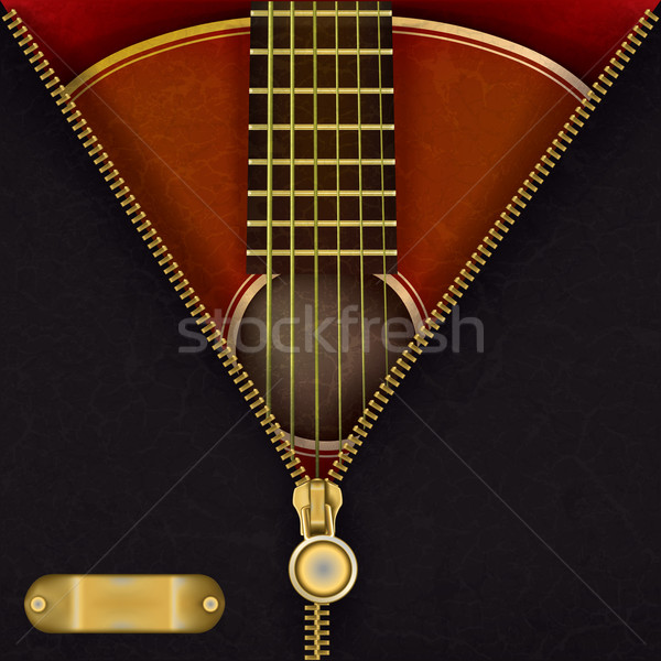 abstract background with guitar and open zipper Stock photo © lem