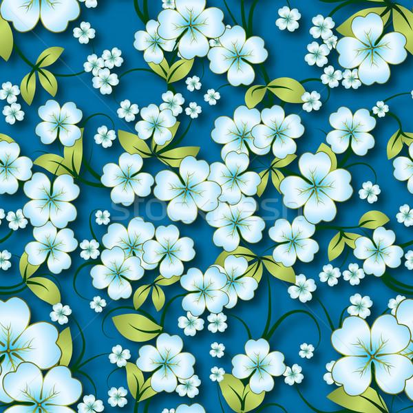 аннотация бесшовный цветочный весны орнамент синий Сток-фото © lem