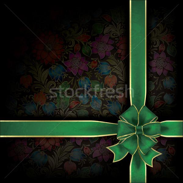Resumen grunge regalo cinta floral ornamento Foto stock © lem