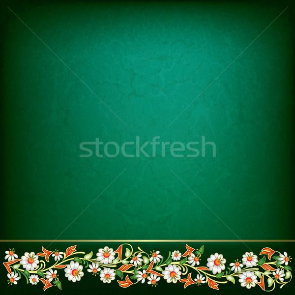 аннотация Гранж весны цветочный орнамент зеленый Сток-фото © lem