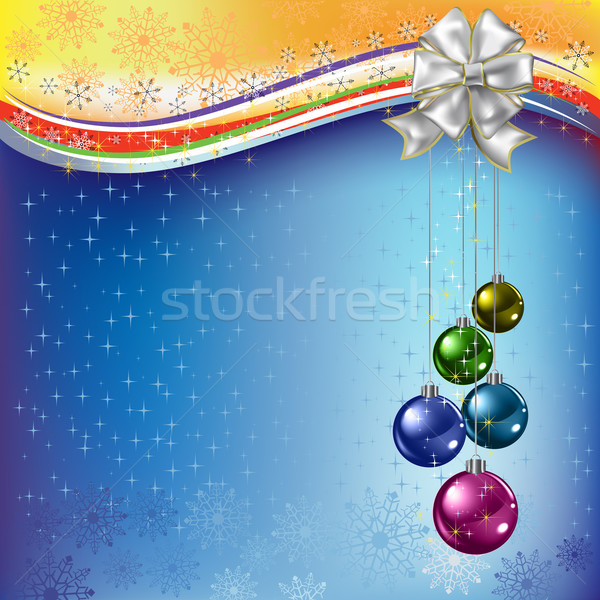 Noel tebrik renkli beyaz yay Stok fotoğraf © lem