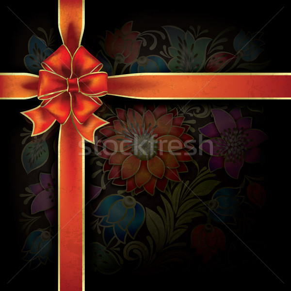 abstract background with gift ribbon and floral ornament Stock photo © lem