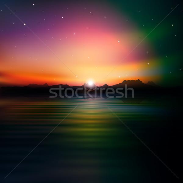Soyut siluet dağlar gündoğumu Yıldız gökyüzü Stok fotoğraf © lem