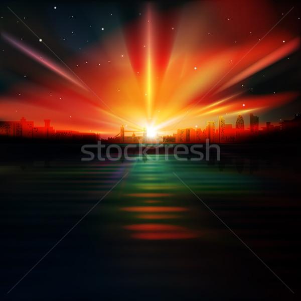 Foto stock: Abstrato · silhueta · Londres · escuro · vermelho · nascer · do · sol