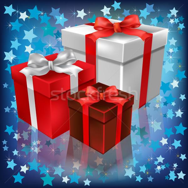 Рождества подарки аннотация звезды снега фон Сток-фото © lem