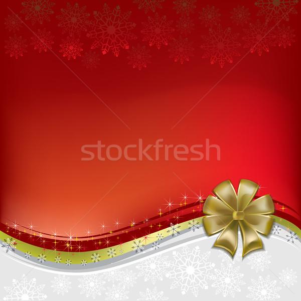 Noel tebrik altın yay kırmızı kar Stok fotoğraf © lem