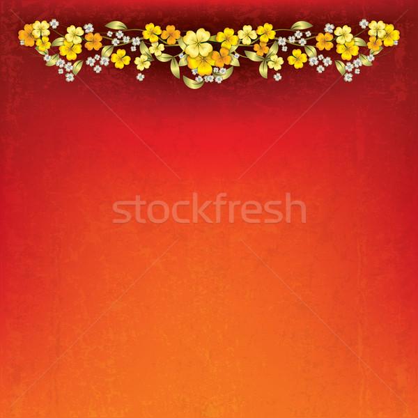 аннотация Гранж весенние цветы красный желтый весны Сток-фото © lem