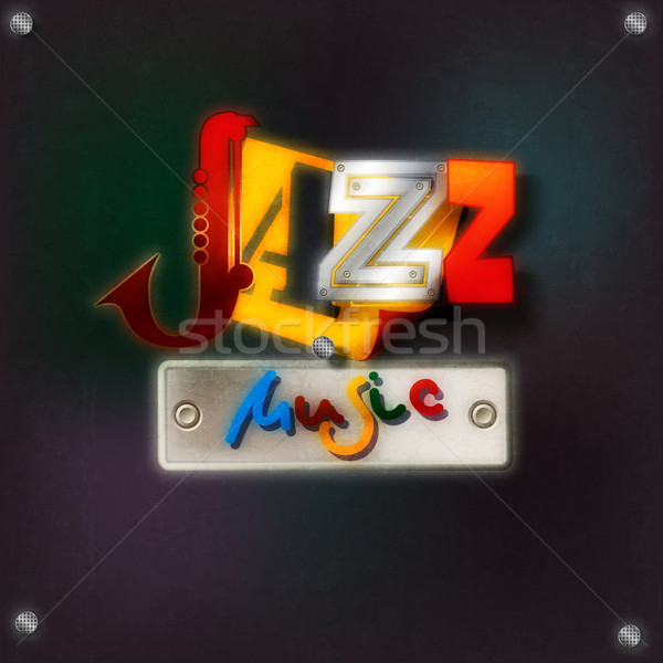Abstract grunge background with text jazz music Stock photo © lem