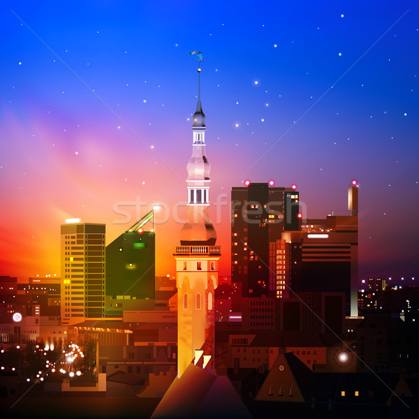 Resumen silueta ciudad noche Tallinn rojo Foto stock © lem