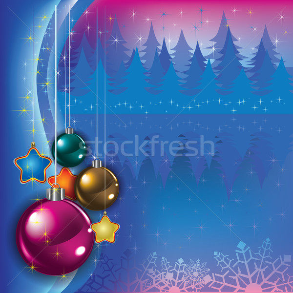 Abstract greeting with Christmas decorations Stock photo © lem