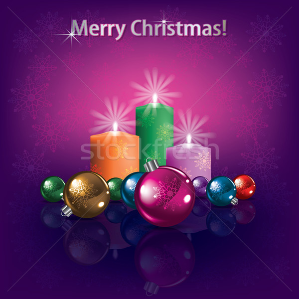 Karácsony díszítések gyertyák absztrakt sötét üdvözlet Stock fotó © lem