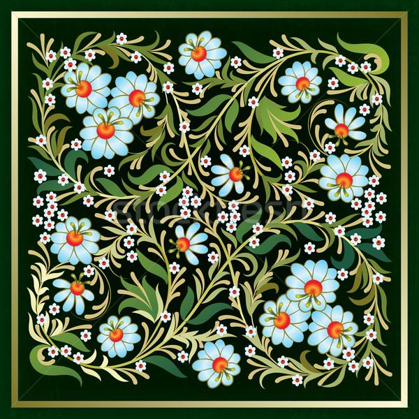 аннотация Гранж цветочный орнамент зеленый синий Сток-фото © lem
