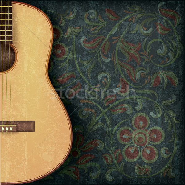grunge music background with guitar and floral ornament Stock photo © lem