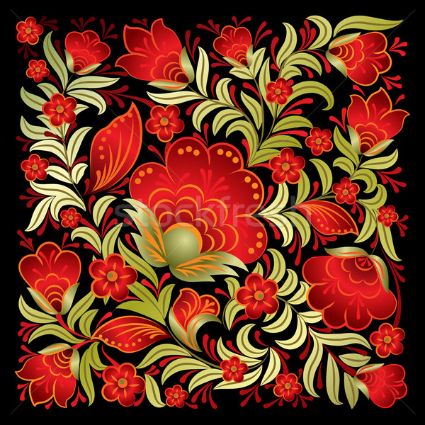 Resumen rojo floral ornamento aislado negro Foto stock © lem