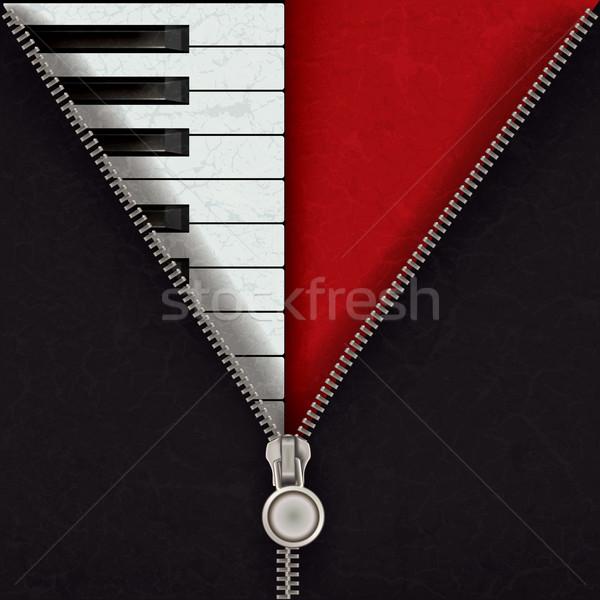 Soyut piyano açmak fermuar müzik kırmızı Stok fotoğraf © lem