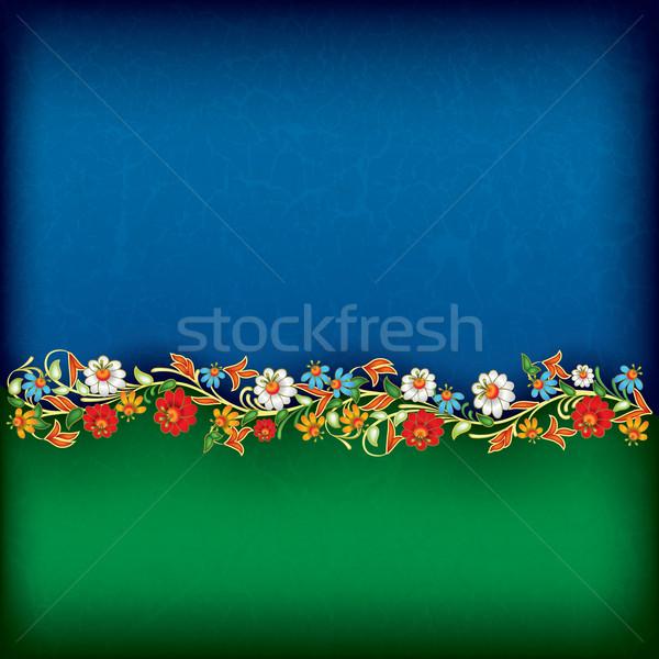 Absztrakt grunge virágmintás dísz zöld kék Stock fotó © lem
