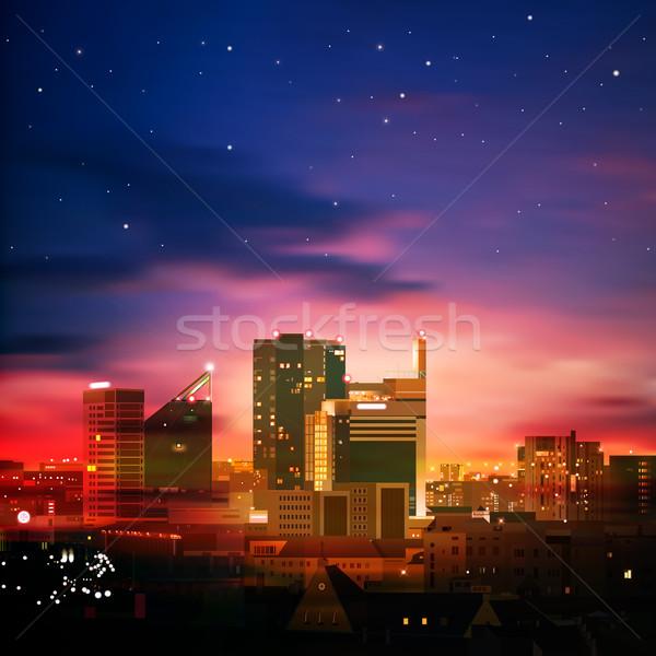 аннотация ночному городу природы город синий закат Сток-фото © lem