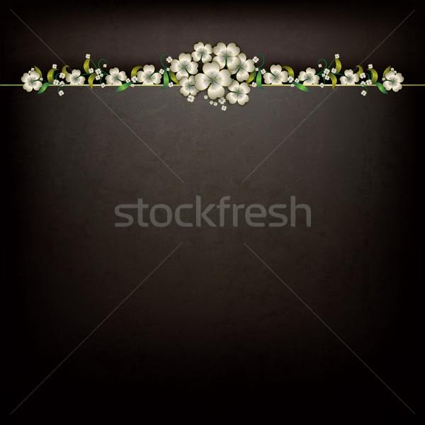 Absztrakt grunge virágmintás dísz fekete háttér Stock fotó © lem