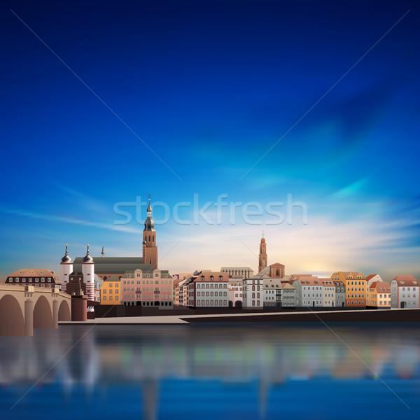 Panoramik görmek ortaçağ kasaba Almanya soyut Stok fotoğraf © lem
