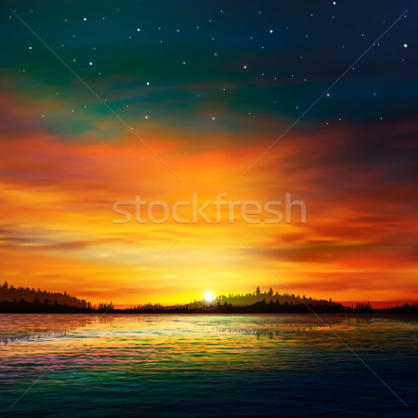 abstract nature background with forest lake and sunrise Stock photo © lem