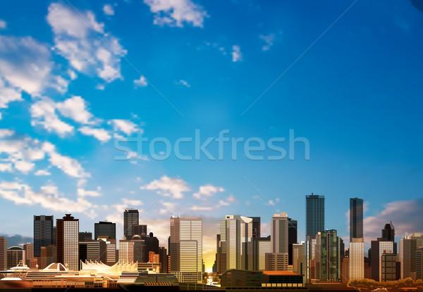 Abstrato panorama Vancouver vetor blue sky cidade Foto stock © lem