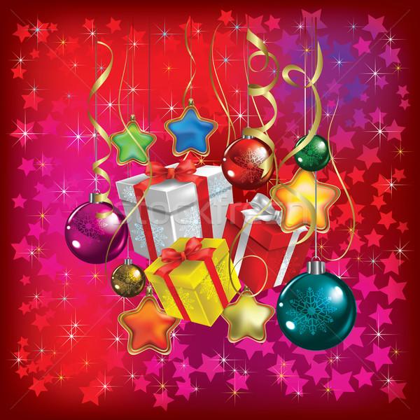 Karácsony üdvözlet ajándékok díszítések piros absztrakt Stock fotó © lem