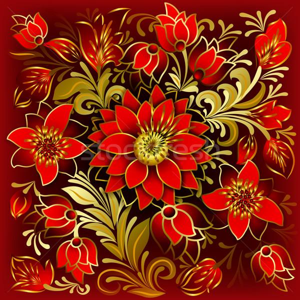 Resumen floral ornamento flores rojas flores de verano rojo Foto stock © lem